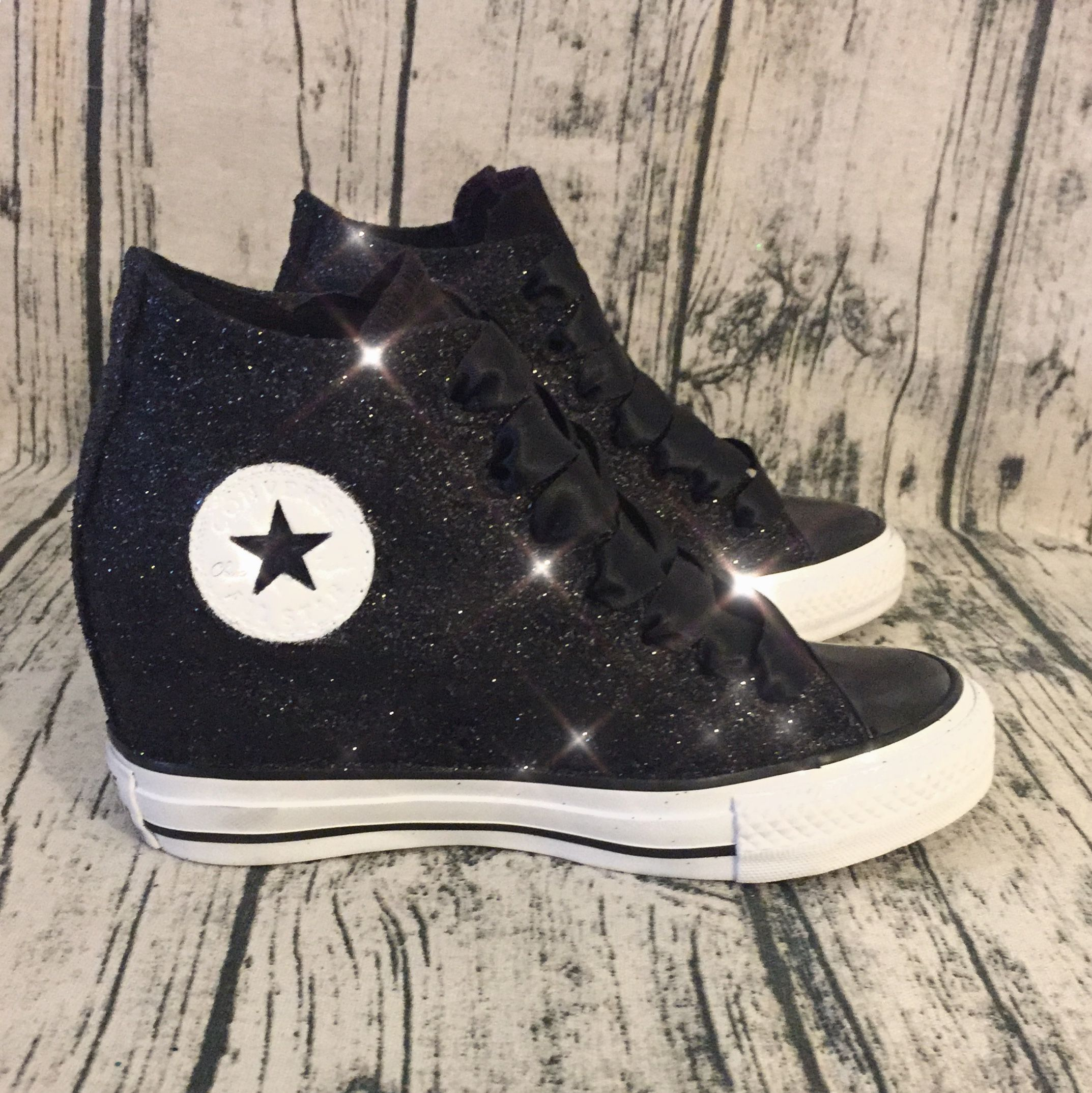 Women's Sparkly Glitter Converse All Stars Lux Wedge Heel