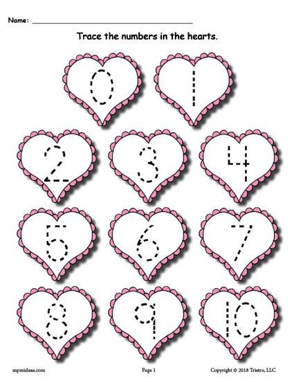 FREE Printable Valentine\'s Day Number Tracing Worksheets 0-20 ...