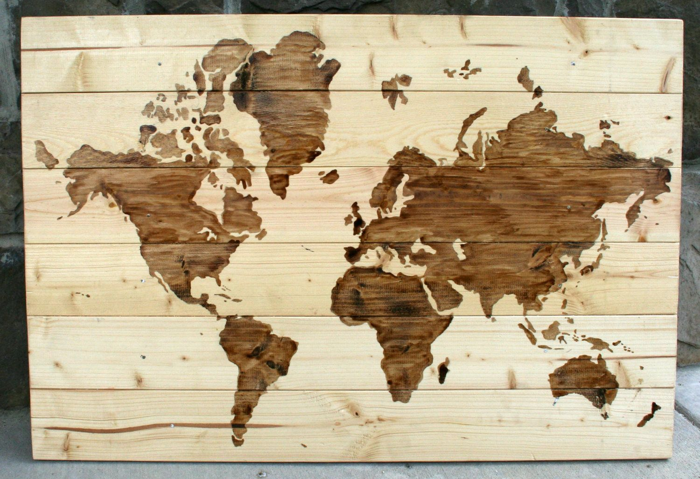Rustic wood world map wall art