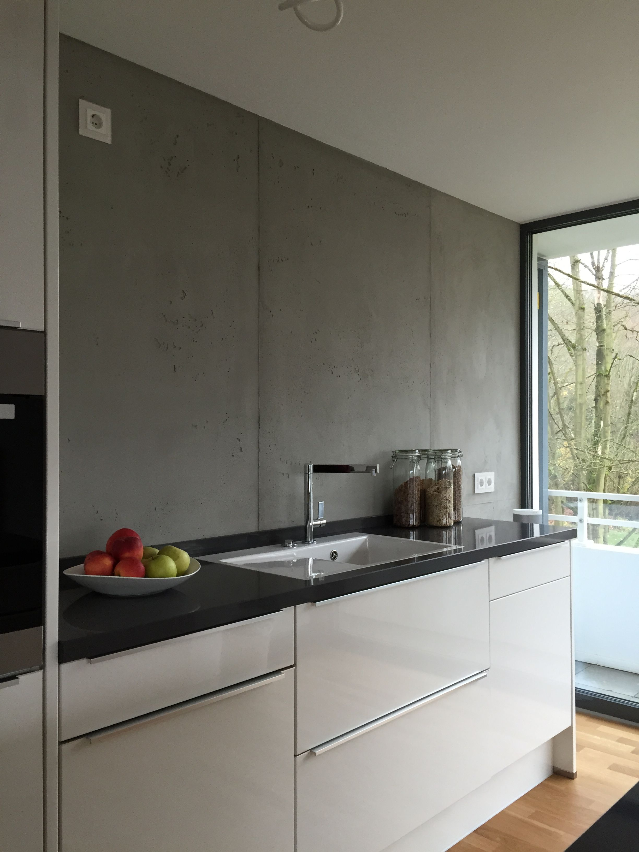 Küche Wandfarbe Betonlook In Der Küche Kitchen Ideas Concrete Kitchen Kitchen
