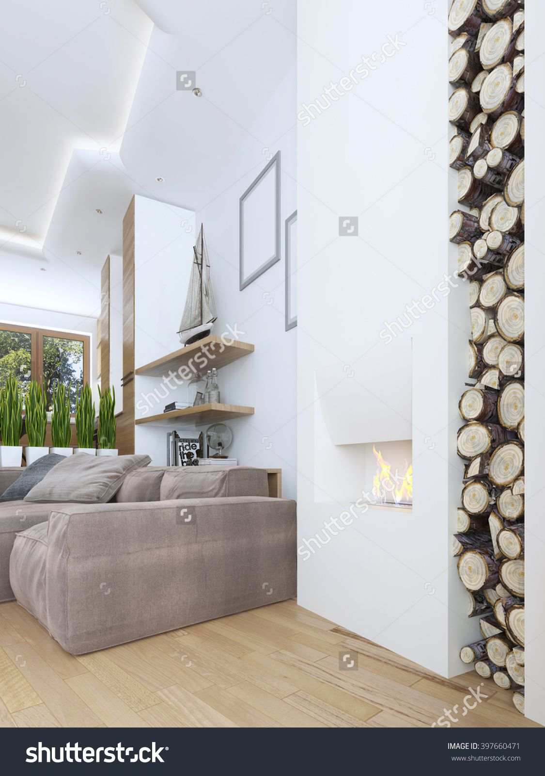 the idea of design fireplace in a modern style with a niche for