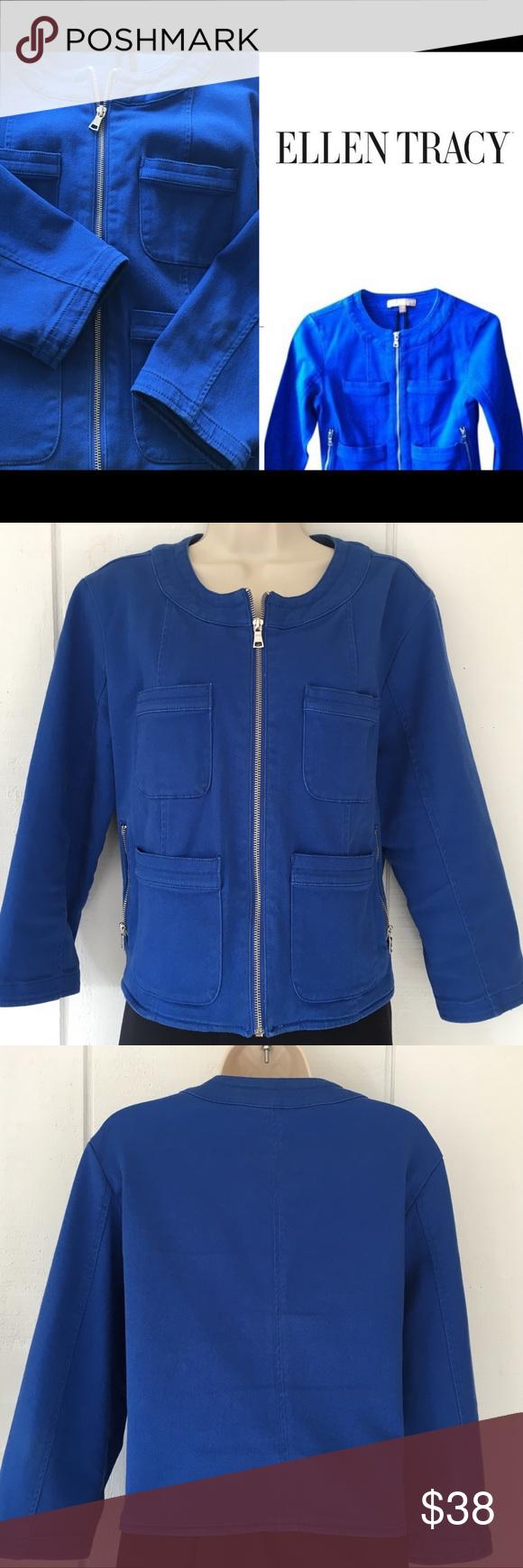 Ellen Tracy Pockets Zippers Royal Denim Jacket Ellen Tracy Royal Blue Excellent Condition Zipper Pockets Denim Jean Jacket Blue Denim Jeans Jean Jacket [ 1740 x 580 Pixel ]