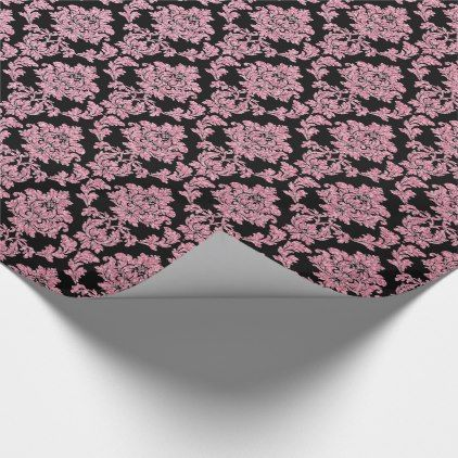 Pink Rose Gold glitter & black damask Wrapping Paper - glitter glamour brilliance sparkle design idea diy elegant