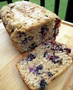 Blueberry bread 2/3 cup packed brown sugar 3/4 cup milk 1/2 cup canola oil 2 large eggs 2 1/4 cups white flour 1 cup rolled oats 3 tsp baking powder 1 tsp cinnamon 1/4 tsp salt 1 cup fresh blueberries 1 Tbsp turbinado sugar