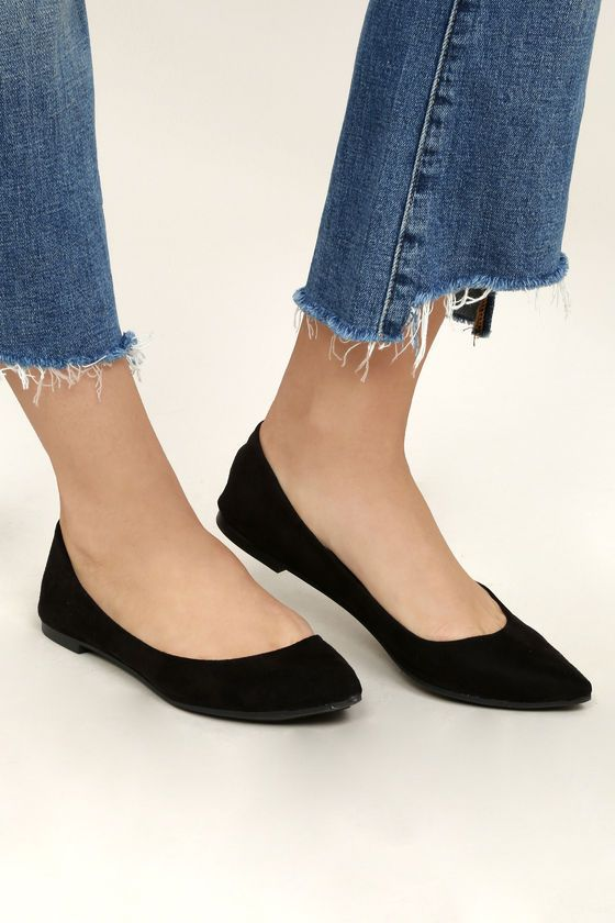 Lexine Black Suede Pointed Flats