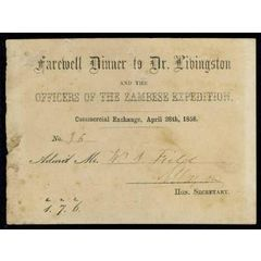 Farewell Dinner Invitation Card Dr David Livingstone Zambese Expedition :  1858