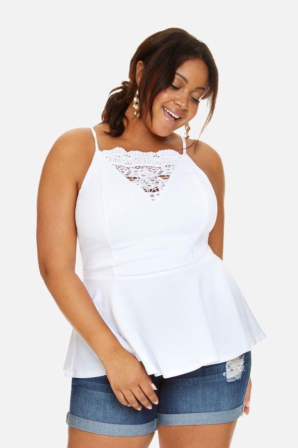 75bb8202 Fashion to Figure Anita Lace Insert Peplum Top | Products | Moda ...