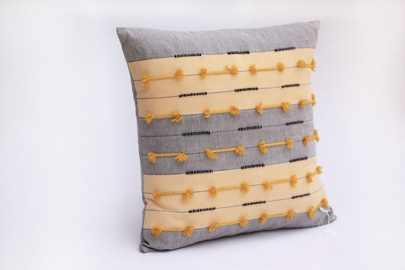 Yellow Scripture series - Yellow and Blue stripe Handwoven Cushion cover. €32,00, via Etsy.