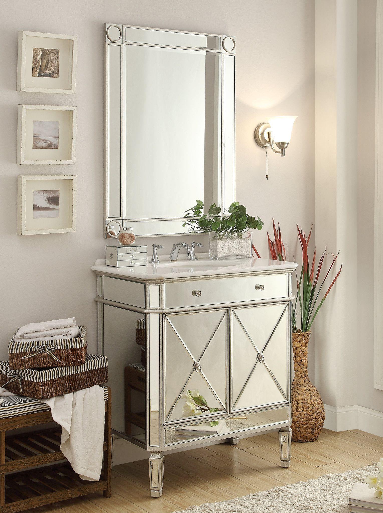 32 Benton Collection Mirror Reflection Austell Bathroom Sink Vanity 505ra Silver Leaf Finish No Mirror In 2021 Bathroom Sink Vanity Bathroom Vanity Vanity Sink Mirrored bathroom vanity with sink