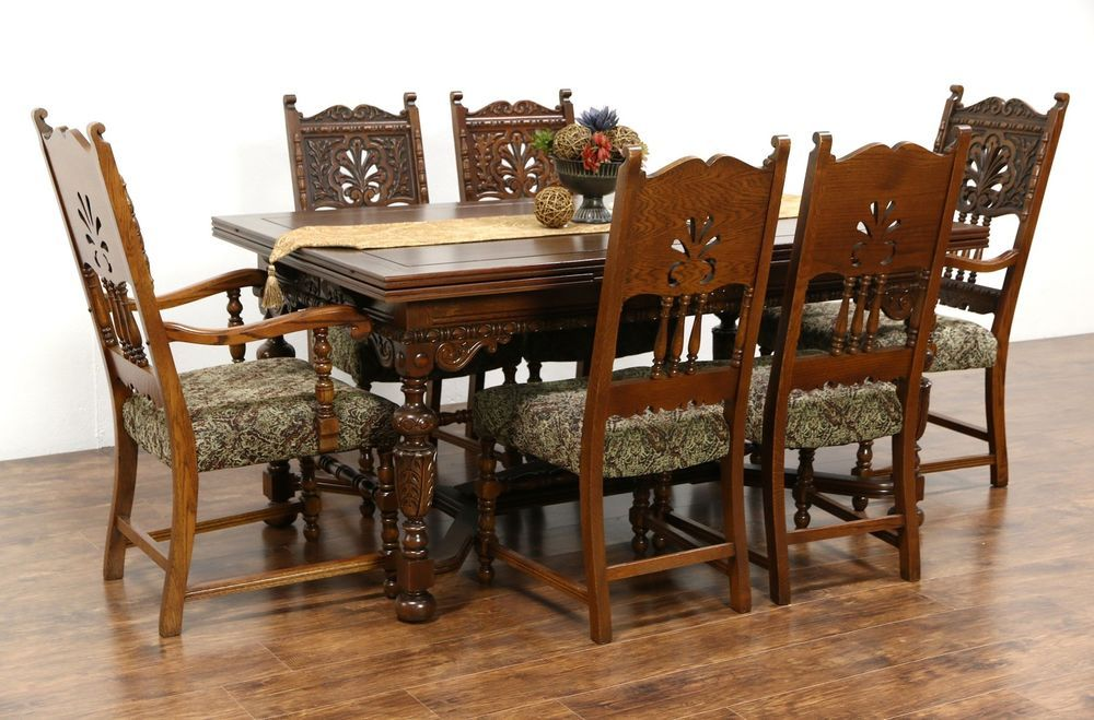 English Tudor 1925 Antique Carved Oak Dining Set Table