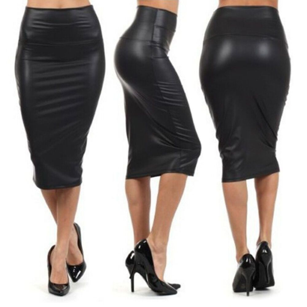 Women PU Leather High Waist Knee Length Straight Package