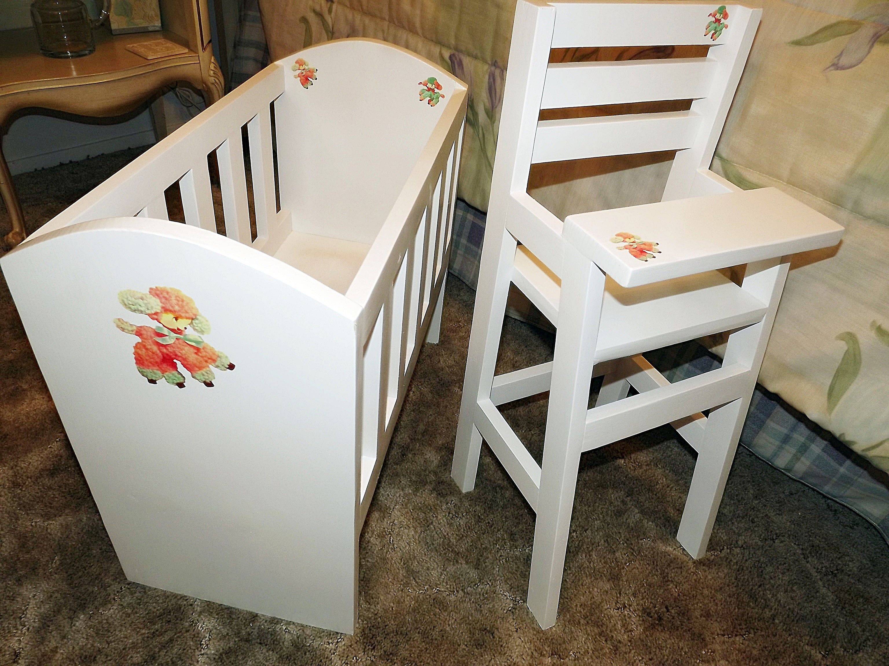 Oliviau0027s Doll Crib and High Chair sets