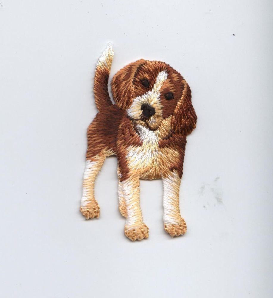 Iron On Embroidered Applique Patch Puppy Dog Beagle Standing