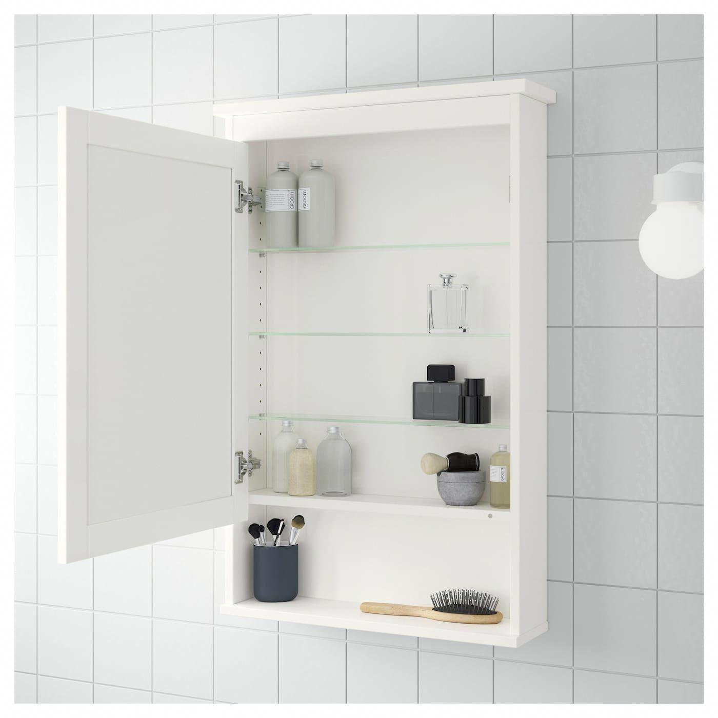 Ikea Hemnes Mirror Cabinet With 1 Door White Bathroommirror Mirror Cabinets Bathroom Mirror Cabinet Ikea Hemnes Mirror