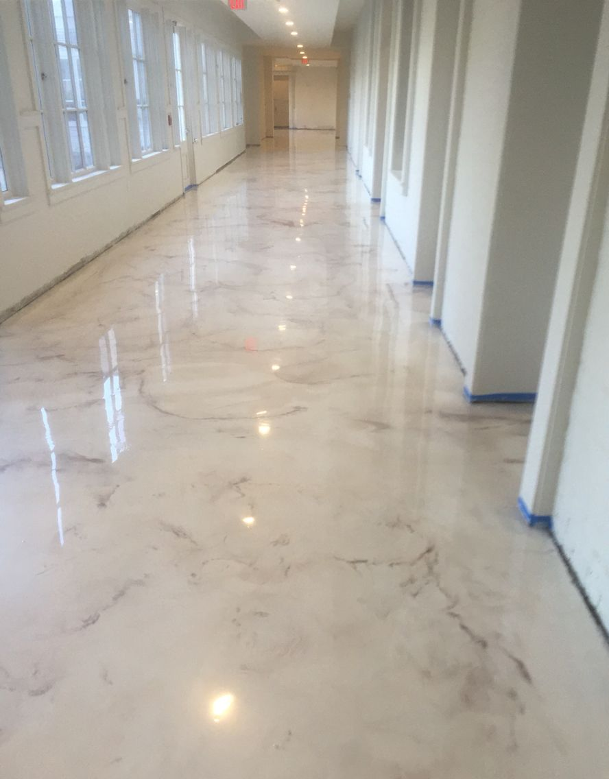 Deco crete studios pearl metallic epoxy floor decorative for Epoxy flooring
