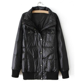 Single-Breasted Long Sleeves PU Leather Black Down Women's Coat, BLACK, ONE SIZE in Women's Jackets &Coats | DressLily.com
