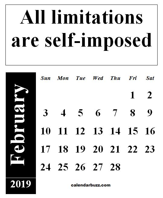 2019 February Calendar Buzz Wallpaper Calendars february 2019 inspirational calendar with quote | 2019 Calendars