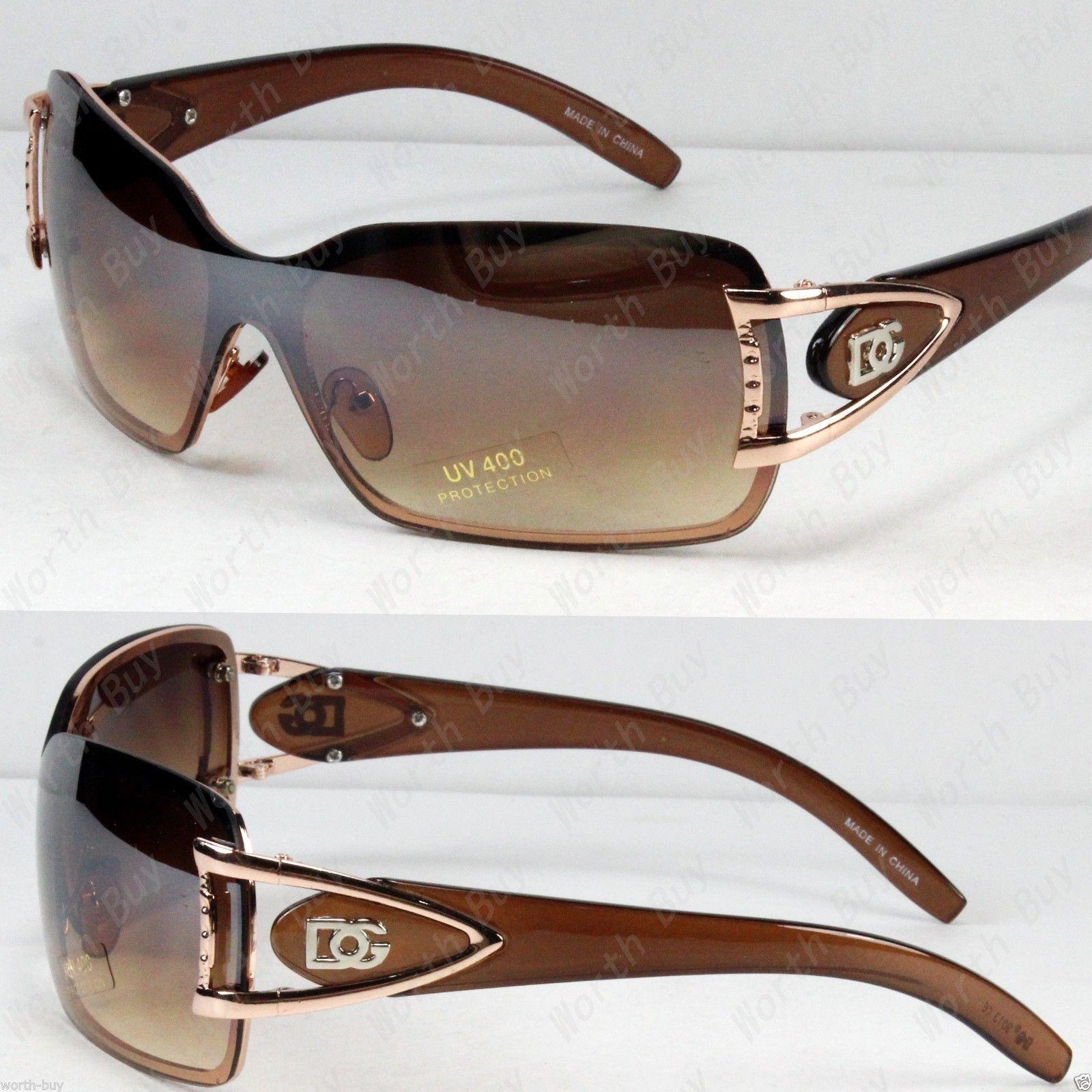 New DG Butterfly Women Designer Shield Wrap Around Sunglasses Fashion Gold Brown