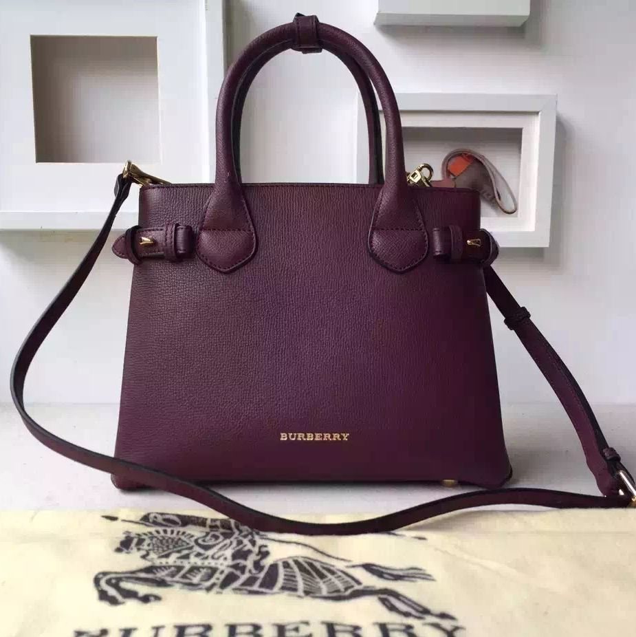 61e0f3e47acd Burberry Small Banner Bag In Leather And House Check Burgundy ...