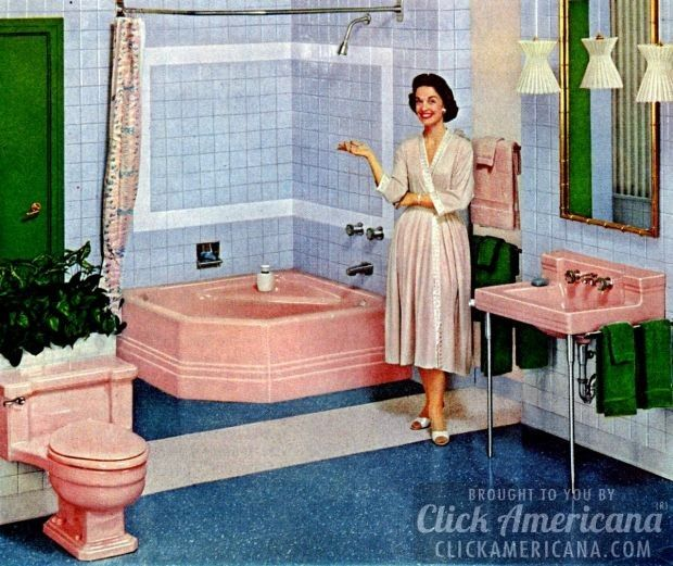 While Not Exclusively The Domain Of The Fifties, The Popularity Of Pink  Bathrooms   Including