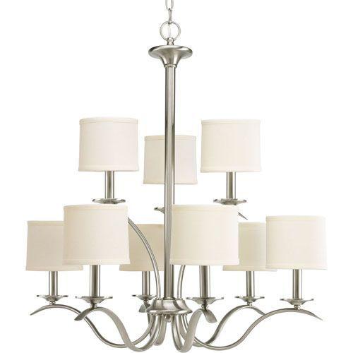 progress lighting inspire brushed nickel nine light chandelier with