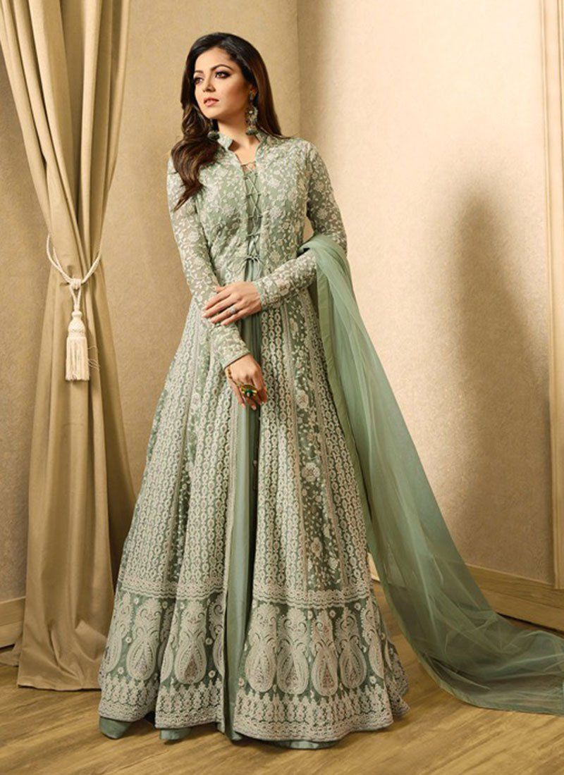 9b77266b87 Buy Drashti Dhami grey color net party wear anarkali in UK, USA and Canada