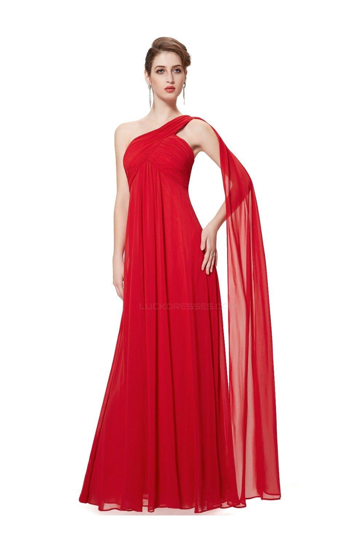 Empire oneshoulder long red chiffon bridesmaid dressesevening