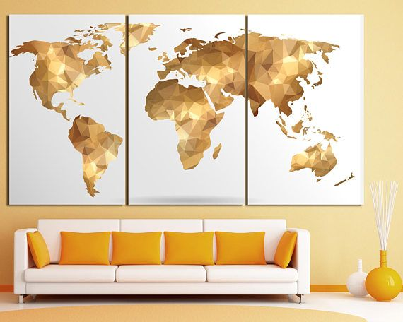 Golden map wall art. gorl world map canvas, golden world map print ...
