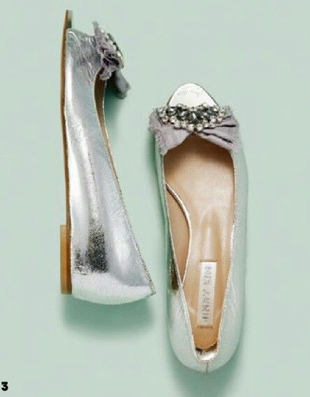 Cute silver flat shoes ♥