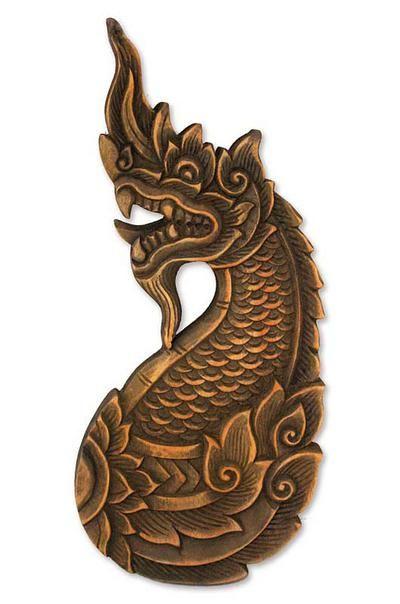 Hand Carved Wood Naga Dragon Sculpture, 'Thai Naga