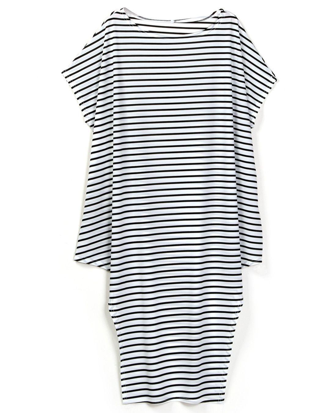 Loose round neck batwing sleeve irregular hem maxi dress