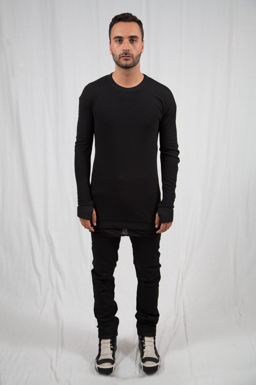 Black Object Dyed Long Sleeve PULL2
