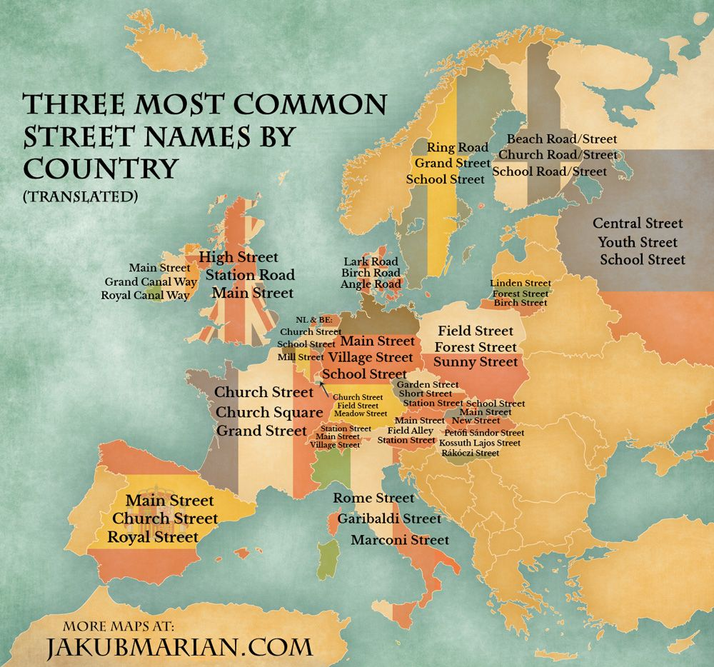 Most common street names by country in Europe Map Mania