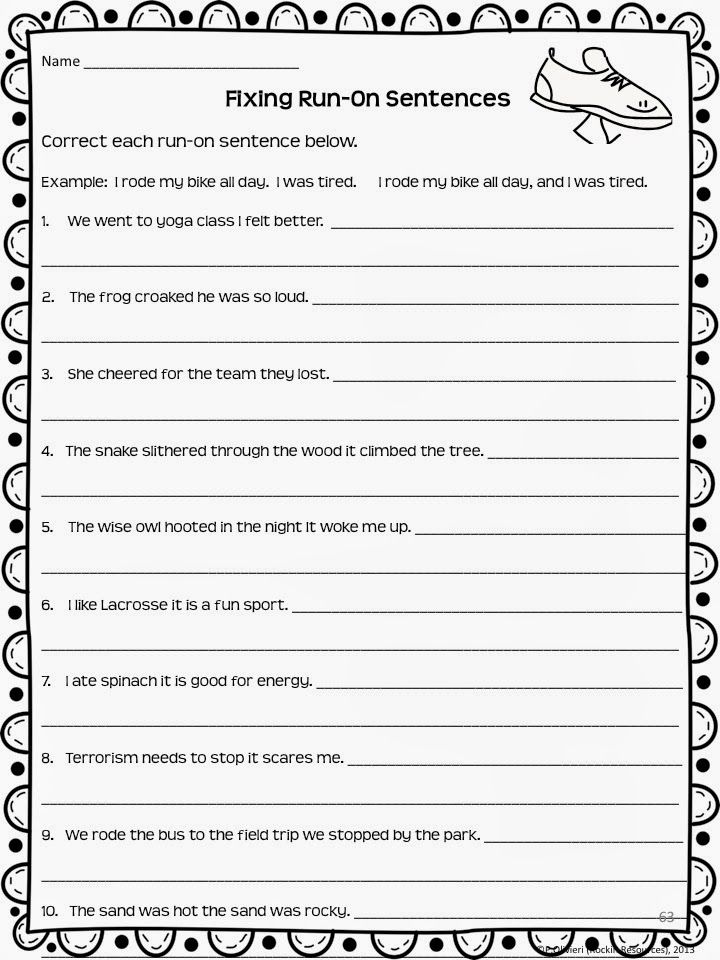 Writing Mini Lesson 4 Run On Sentences With Images Writing
