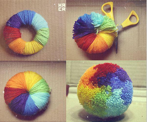 5 manualidades con lana ¡pompones Pompones, Buscar con google y - imagenes de manualidades