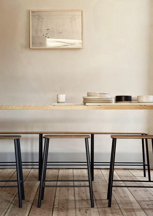 Warm \ harmonisch Wandfarbe Sand kombiniert mit einer Einrichtung - harmonisches minimalistisches interieur design