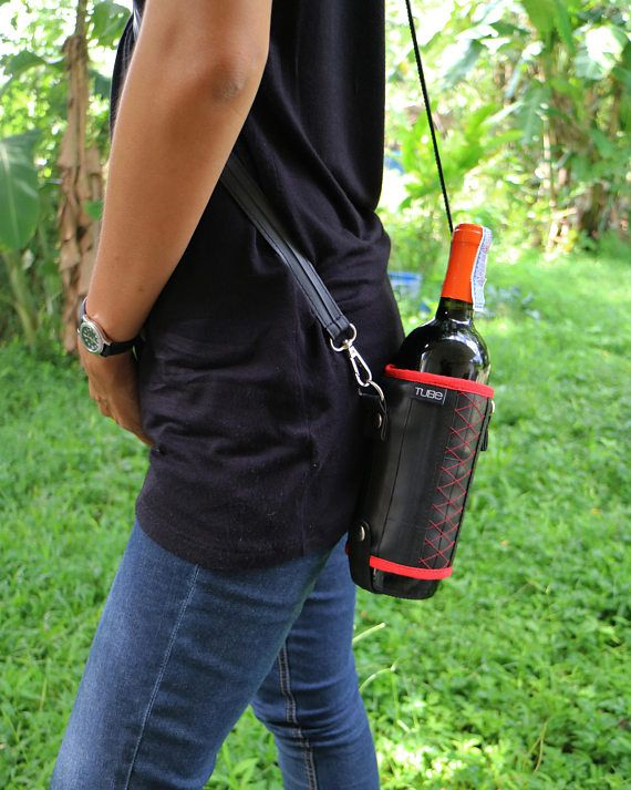 Wine bottle holder with strap water bag case Vegan and
