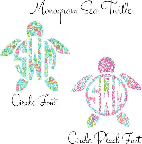 Lilly Pulitzer Monogram Turtle Decal from Southern Ideology. Shop more products from Southern Ideology on Wanelo.