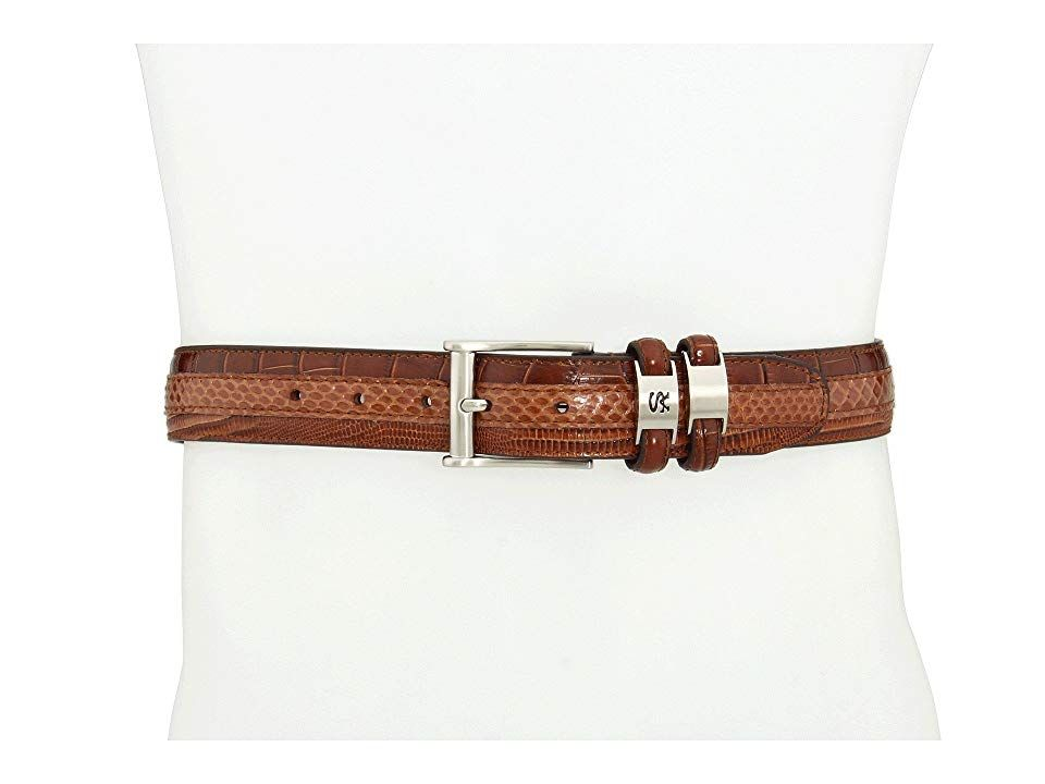 Stacy Adams 127X Cognac Mens Belts Achieve winning style with this impressive belt from Stacy Adams Combination snake lizard and crocembosseed design throughout Belt made...