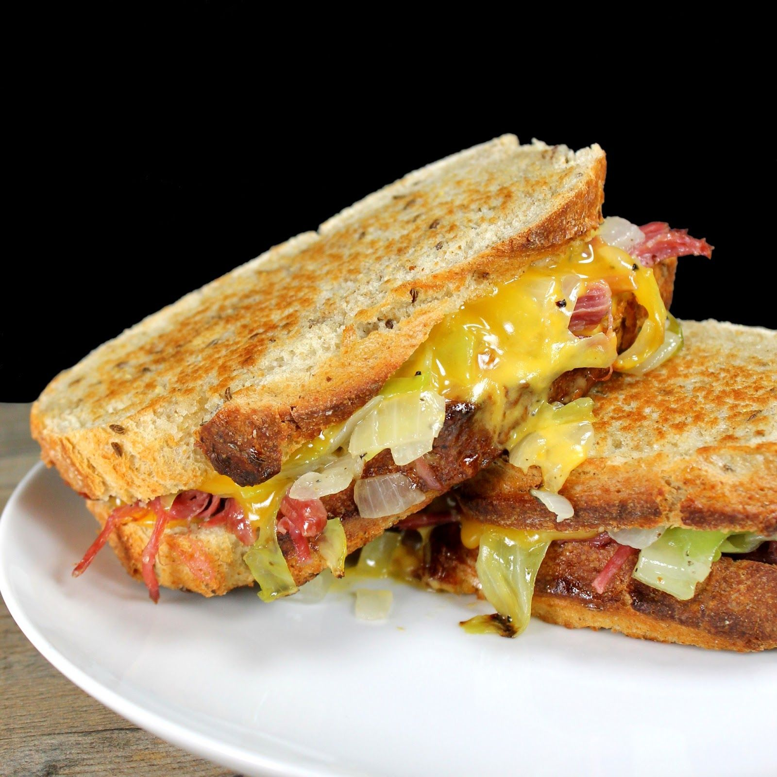 Corned Beef and Cabbage Grilled Cheese on Rye