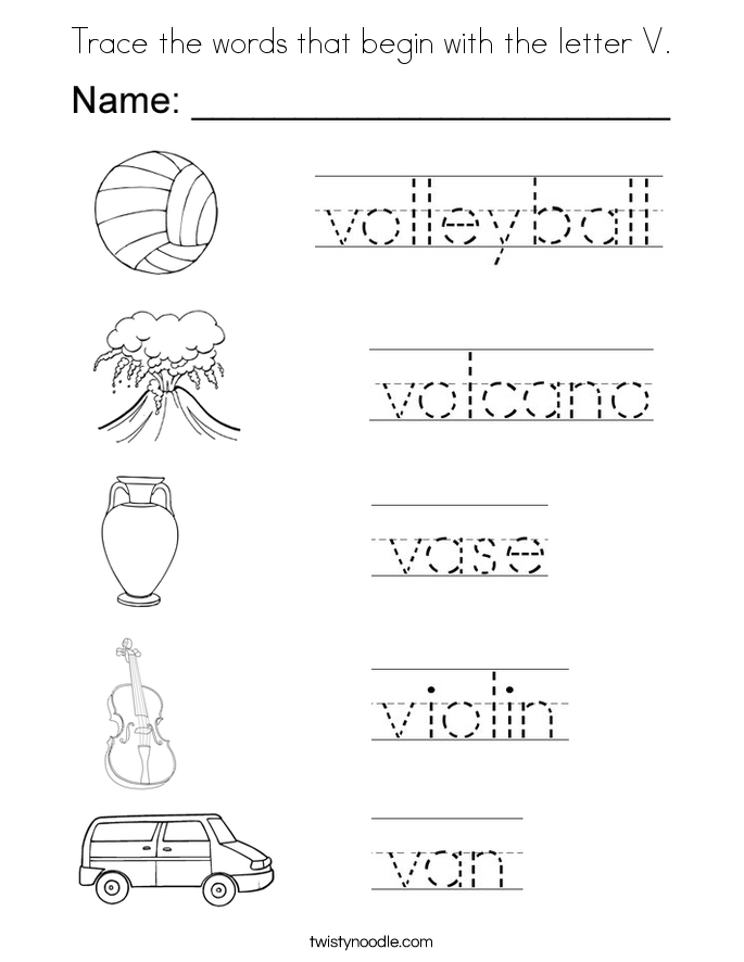 Trace the words that begin with the letter V Coloring Page ...