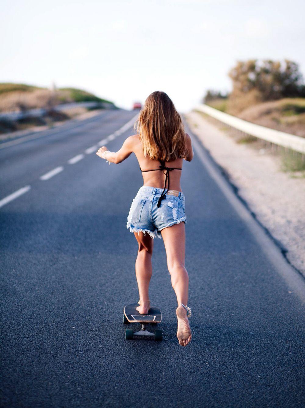 Barefoot Girl Skateboarding