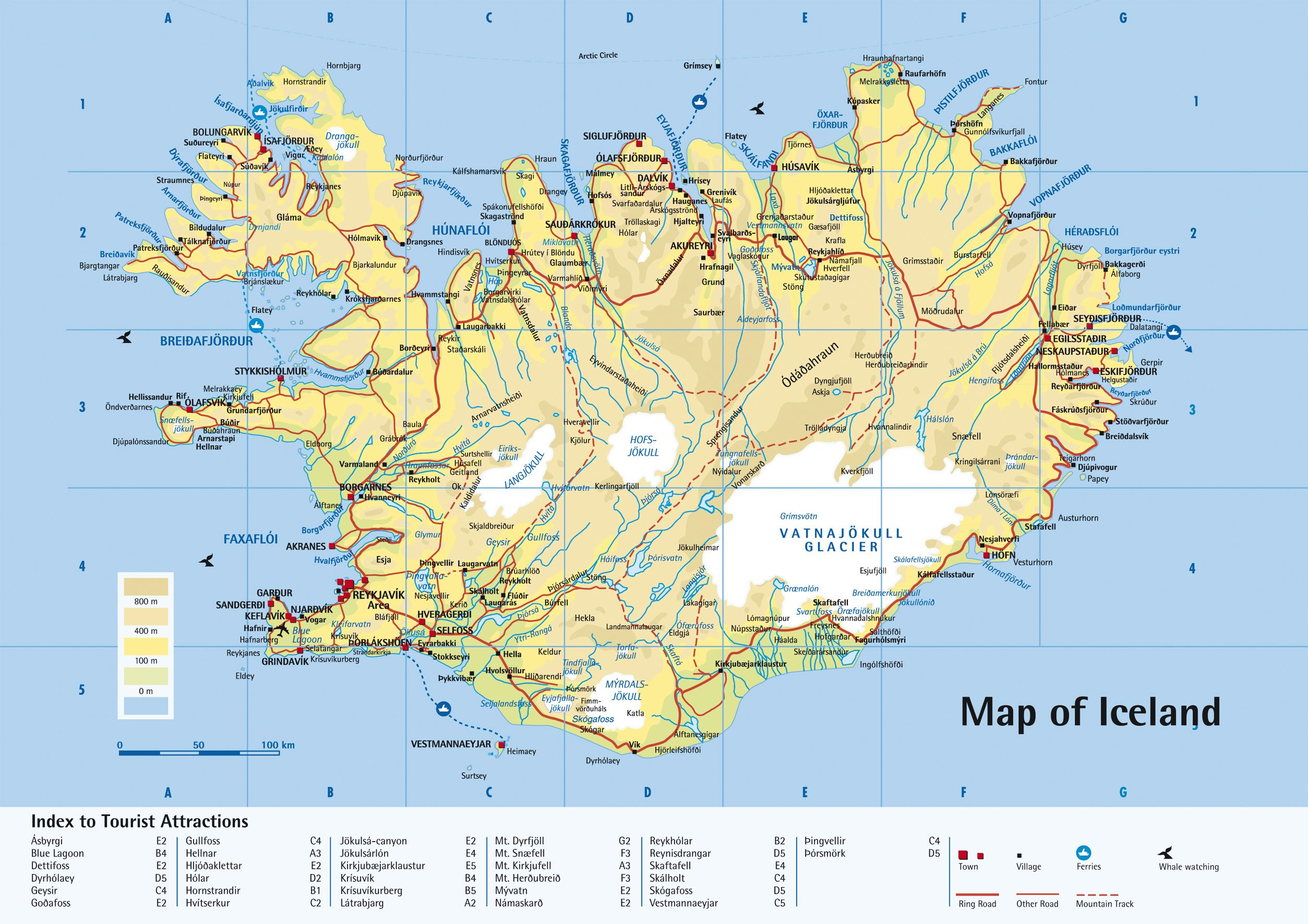 Detailed road map of Iceland. | Dom in 2019 | Tourist map, Reykjavik ...