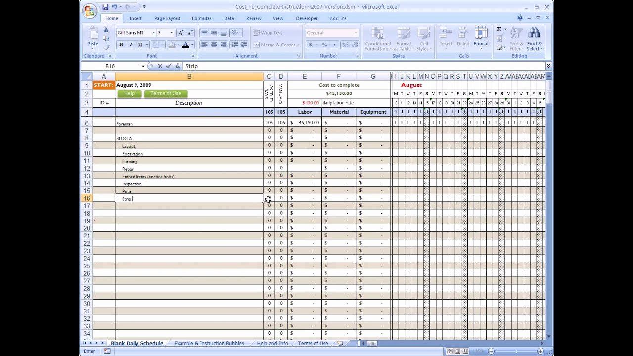 Residential Construction Budget Template Excel Unique Cost