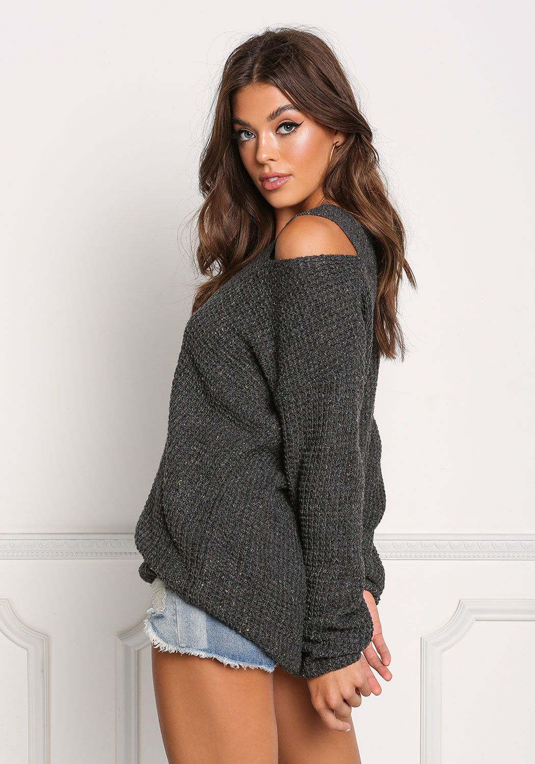 29b31b7d2c7c7 Charcoal Thick Knit Cold Shoulder Sweater Top
