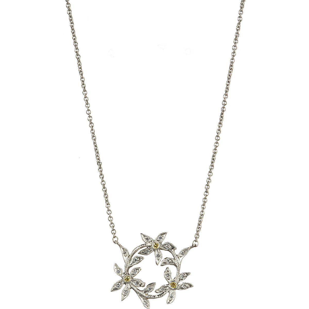 Diamond circle of flowers pendant necklace accessories