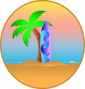 hawaiian palm trees clip art surfboard leaning against a rh pinterest co uk surfboard free clipart surfer board clipart