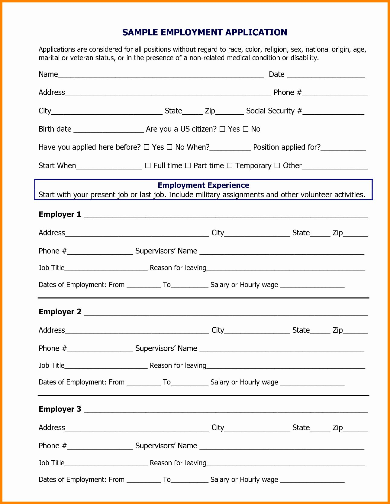 Job Application form Sample format Inspirational 8 Job