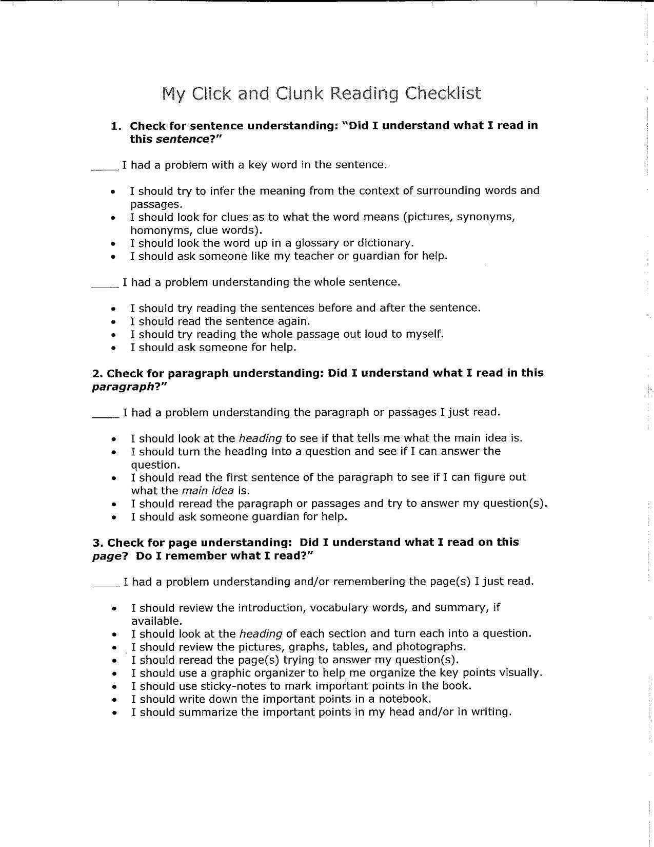 Click And Clunk Reading Checklist
