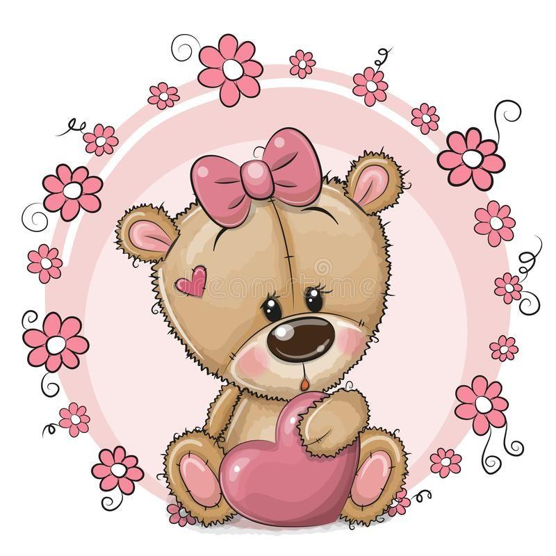 Illustration About Greeting Card Cute Cartoon Teddy Bear Girl With Heart And Flowers Illustration Of Beautiful Teddy Bear Girl Cute Cartoon Pictures Bear Girl